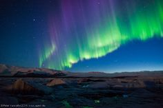 Auroras Taken by Peter Vancoillie on April 2014 @ Jökulsárlón, Iceland Beautiful Sky, Beautiful Places, Beautiful Pictures, Northan Lights, Night Lights, Star Painting, Amazing Sunsets, Night Time, Wonders Of The World