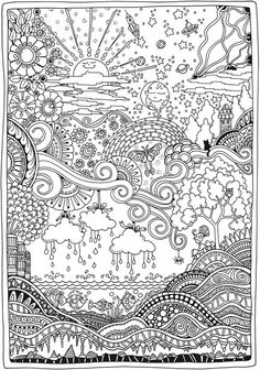 Creation unit - all in one coloring page.