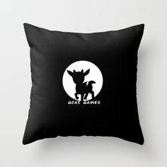 Goat Games Black&White Throw Pillow by goatgames White Throw Pillows, Down Pillows, Goat Games, Game Black, Poplin Fabric, Pillow Inserts, Goats, Hand Sewing, Zipper