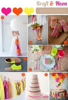 Kraft and Neon Wedding Inspiration Board