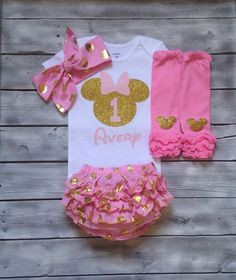 Pink and gold minnie mouse birthday outfit by ASweetBabyBoutique