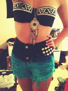 Dream catcher, high waisted shorts, cute bra top thing. I loves it.