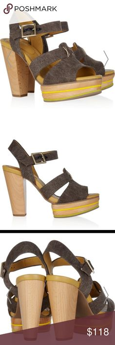 See By Chloe Tweed and Leather Sandals Heel measures approximately 115mm/ 4.5 inches with a 25mm/ 1 inch platform. See by Chloé crafts the perfect summertime shoe with these brown tweed and tan leather sandals. Stripes of yellow and lime along the wooden platform add a distinctively on-trend look. In great condition! See By Chloe Shoes Sandals