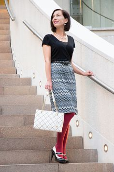 Kate Spade bag - ModCloth chevron dress - Machi Footwear heels