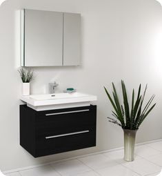 """31.25"""" Medio Single Vanity with Medicine Cabinet - Black.  A striking choice for only $999.00"""