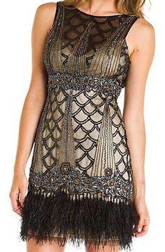 Sue Wong Beaded Black Nude Feather Art Deco Flapper Dress Great Gatsby 6 10 | eBay