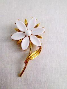 Vintage Brooch Pin Retro Milk Glass Gold by TreasuresByTessa, $22.00