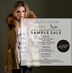 Jacky Luxury Fall Winter Mega Sample Sale -- Zwanenburg -- 27/11-28/11
