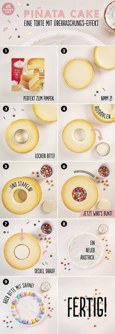 Piñata-Cake, Überraschungskuchen, Inside Decorated Cake
