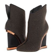 """BCBG MAX AZRIA Wane Studded Wedge Bootie Boots Catch everyone off-guard in these on-point, metallic-trimmed 4"""" wedges. Pointed toe. Wedge heel. Allover studded detail. Metallic trim at wedge heel. Slit at ankle. Leather. Imported. BCBG Shoes Ankle Boots & Booties"""