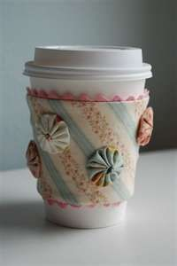 These are adorable! You can buy re-useable travel mugs, and use the plastic sleeve it comes with as your pattern!