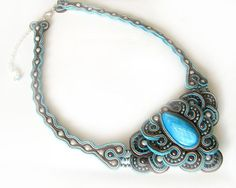 Soutache necklace - turquoise & brown