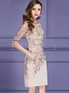 4070c7658e3bb Dresses | Bodycon Dresses | Elegant Embroidered Gathered Waist Bodycon Dress  Party Kleider, Elegante Kleider