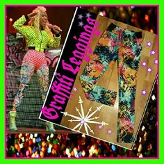 Leggings Nicki Minaj Graffiti Print New and never worn BOLD & UNIQUE &COLORFUL   Graffiti print stretch leggings with black elastic at sides enhance your hips n' butt!!   Polyester/Spandex Machine wash   Size M   Check out my other listings for Unique finds!! Nicki Minaj Pants Leggings