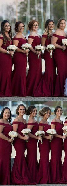 gorgeous off the shoulder burgundy mermaid long bridesmaid dress, 2018 bridesmaid dress, gorgeous wedding party dress #mermaidweddingdresses
