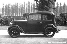 The first Ruby (or 'ARQ Ruby') saloon was manufactured in July 1934. The Ruby featured a new body design that enhanced the appearance of the Seven in an attempt to keep up with the times. The new styled body was fitted on a 'low frame' chassis. Other changes were a cowled radiator, hinged side vents on the bonnet and a slightly swept back incorporating a spare wheel cover.  (from austinsevenfriends.com)