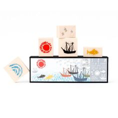 Use the Sea Stamp Set all together to make out to sea themed patterns and artistic scenes, or use the stamps separately to add a little simple flair to letters, cards and envelopes. Stamp set includes five natural rubber stamps mounted on maple blocks.