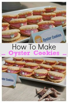 Learn how to easily make oyster cookies. This recipe is perfect for an under the sea or little mermaids themed parties. Decorated with buttercream and small edible pearls they are the most adorable looking cookies that the kids are going to love. Cake Mix Cookies, Cake Pops, Cupcakes, Candy Recipes, Cookie Recipes, Dessert Recipes, Cupcake Party, Party Cakes, Oyster Cookies