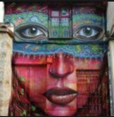 By Brazilian graffiti artist Anarkia Boladona - stunning! Urban Street Art, 3d Street Art, Street Art Graffiti, Urban Art, Graffiti Artwork, Street Artists, Street Painting, Mural Painting, Grafiti