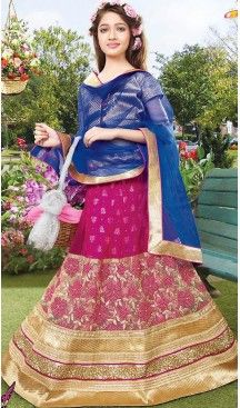 Deep Pink Color Net Circular Kids Girls Lehenga Cholis   FH467572769