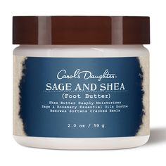 Carol's Daughter  Sage & Shea Foot Butter  $12.00  The ultimate multi-tasking body moisturizer—with over 20 uses. For all skin types.  A true multitasker, this moisturizer includes jojoba oil to rehydrate and seal in moisture, sweet almond oil to replenish and nourish skin and soy bean oil to heal dry, irritated skin. Massage it into skin, through the ends of your hair, on dry cuticles and anywhere else that needs some TLC.  - See more at: http://www.beautysage.com
