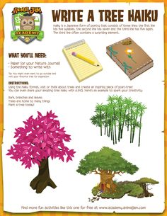 Write a Tree Haiku Activity Page Download   Science   Poetry