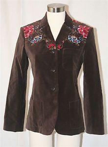 ed35b50ceab Brown velvet ARMAND VENTILO Embroidered blazer jacket coat sz 8 10 Euro 40