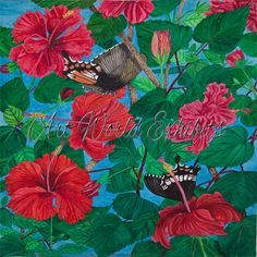 The Pollen Drinkers - Swallowtail butterflies drink pollen from hibiscus flowers. This is a typical scene from my garden in Goa,South India. #watercolor #canvas #painting #artforsale #artworldexhibits http://artworldexhibits.com/the-pollen-drinkers