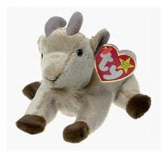 """Goatee is a plush and pellet filled beanie baby with plastic eyes. There is a tuft of """"fur"""" on tail and attached to chin. Rare Beanie Babies, Original Beanie Babies, Beenie Babies, Beanie Buddies, Ty Beanie Boos, Ty Bears, Ty Babies, Baby Goats, Baby Play"""