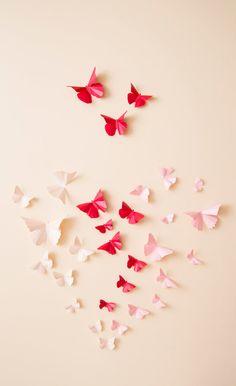 Pink Ombre Butterfly Heart Nursery Wall Decor, Paper Butterflies