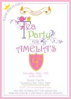 Princess tea party invitations and get inspired to create your own party invitation design with this ideas 10 Girls Tea Party, Princess Tea Party, Tea Party Birthday, 6th Birthday Parties, 3rd Birthday, Birthday Ideas, Tea Party Invitations, Printable Birthday Invitations, Party Printables