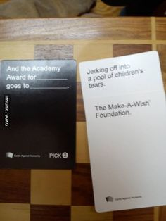 Cards Against Humanity. It's basically Apples to Apples for adults with twisted senses of humor. Does loving this game make me a bad person? xP Dillon I think we need this our husbands would have a blast with this! Stupid Funny, Wtf Funny, Funny Cute, Funny Memes, Hilarious, Funny Stuff, Funny Nurse Quotes, Nursing Quotes, Funny Sarcasm