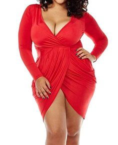 1f82cca2f419 Amazon.com  POSESHE Womens Plus Size Deep V Neck Bodycon Wrap Dress with  Front