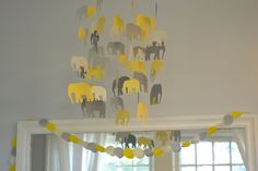 gray and yellow felt garland in Grey & Yellow Elephant Nursery on e, myself & i