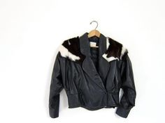 Vintage Cropped Black Motorcycle Jacket with Fur Leather Bomber Biker Slouchy Punk Coat Women's Medium Small - http://www.gezn.com/vintage-cropped-black-motorcycle-jacket-with-fur-leather-bomber-biker-slouchy-punk-coat-womens-medium-small.html