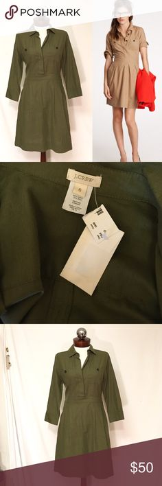 J CREW ruthie shirt dress military chic New, unworn Condition; partial tags attached. Color is more olive drab/army green then photos suggest.Timeless and vintage inspired, this classic shirtdress is clean lined in a soft cotton-wool blend that will keep you warm without running the risk of overheating (in other words, feel free to add a cardi). The fit is feminine, thanks to the nipped-in waist and wide-pleated Aline skirt, with sleeves that go to the elbow in that sweet 1950s way. Button…