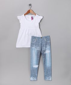 Take a look at this White Knit Top & Leggings - Toddler & Girls by Blow-Out on #zulily today! #zulily #fall