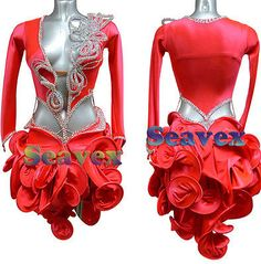 Women Ballroom Rhythm Salsa Rumba Latin Dance Dress US 10 UK 12 Red Sliver