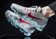 16ff15f8ec NIKE AIR VAPORMAX FLYKNIT PURE PLATINUM UNIVERSITY RED RUNNING SHOES 849558  006