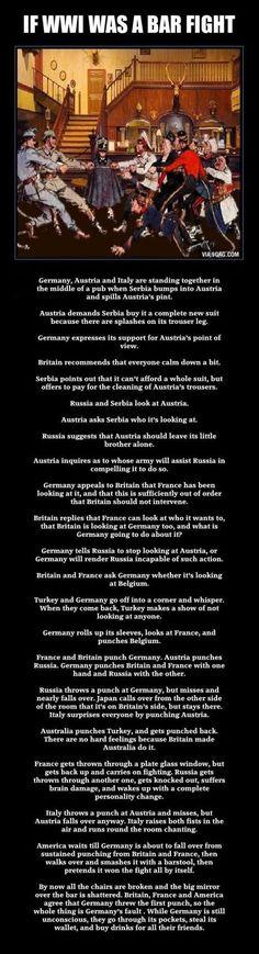 WWI reinterpreted as a bar fight. Brilliant!