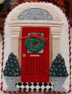 finishing needlepoint Christmas door ornament, designer unknown