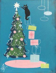 Vintage Christmas Illustration-Mid Century Modern Illustration/ Retro Chrismas Tree with Black Cat Noel Christmas, Modern Christmas, Vintage Christmas Cards, Christmas Cats, Vintage Holiday, Xmas Cards, Vintage Cards, Retro Christmas Tree, Christmas Artwork