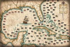 101 Pirates And Their Flags Large Artwork - Pirates - Pirate Print - Pirate Flags - Pirate Map - Blackbeard - Pirate Art - Old Maps & Prints Pirate Treasure Maps, Pirate Maps, Deco Pirate, Golden Age Of Piracy, Large Artwork, Jolly Roger, Old Maps, Pirates Of The Caribbean, Vintage Maps