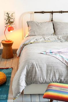 Magical Thinking Yarn-Dyed Pompom Duvet Cover - Urban Outfitters
