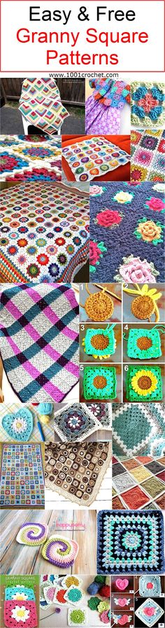 Here I am going to present some of the awesome easy and free granny square patterns. These crocheted squares are coming with their complete details. You can use these crocheted squares on multiple places that we would be seeing in the course of the continuation of this article.