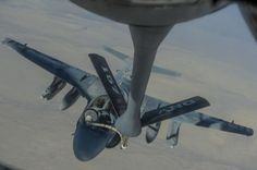 Marine Corps Prowlers being refueled by a U.S. Air Force KC-135 on their way to one of the daily missions over Afghanistan.Some of the 27 remaining U.S. Marine Corps EA-6B Prowler jets are currently deployed to conducts electronic air defense over Afghanistan.EA-6Bs belong to the VMAQ-4, that deployed to Al Udeid, in Qatar, in August 2014. Since they arrived in Qatar, the Prowlers have launched missions to Syria and Iraq, as well as Afghanistan.