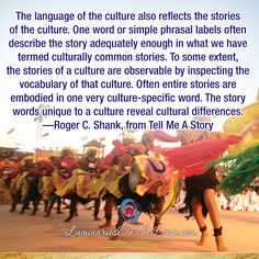 The language of the culture also reflects the stories of the culture. One word or simple phrasal labels often describe the story adequately enough in what we have termed culturally common stories. To some extent, the stories of a culture are observable by inspecting the vocabulary of that culture. Often entire stories are embodied in one very culture-specific word. The story words unique to a culture reveal cultural differences. —Roger C. Shank, from Tell Me A Story Storytelling Quotes, One Word, Your Message, Shank, Vocabulary, Reflection, Acting, Language, How To Get