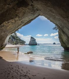 Cathedral Cove, New Zealand #newzealandphotographer photo by @shaun_jeffers •