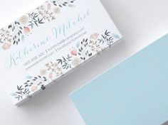 Hand Drawn Motif Business Cards, 2 sides, Watercolor, Polka Dots, Blue, Pink, Floral, Customizable