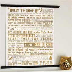 Rules To Shop By - metallic gold print. A perfect gift for shopping addicts. Screenprint designed by award-winning More Than Words. Gold Silk, Metallic Gold, Typographic Design, Word Design, Festival Posters, Gold Print, Silk Screen Printing, More Than Words, Discount Designer